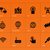 networking icons on orange background stock photo © tkacchuk