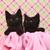 cute black kittens on pink pretty background stock photo © tobkatrina