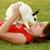 девочку · играет · мех · кролик · белый · Пасху - Сток-фото © tobkatrina