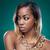 vonzó · afroamerikai · nő · visel · arany · nyaklánc · szépség - stock fotó © tommyandone