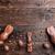 chocolade · Easter · Bunny · eieren · houten · heerlijk · Pasen - stockfoto © tommyandone