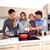 groep · jonge · vrienden · ontbijt · moderne · keuken - stockfoto © toocan