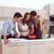 grupo · jóvenes · amigos · desayuno · moderna · cocina - foto stock © toocan