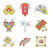 colored outline chinese new year icons set stock photo © trikona