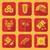 yellow color flat style chinese new year icons set stock photo © trikona