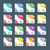 various color flat style minimal file formats icons set 