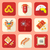 color flat style chinese new year icons set stock photo © trikona