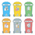 colored outline separated garbage bins icons labels 