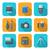 vierkante · lang · schaduw · stijl · iconen · Blauw - stockfoto © trikona