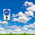 bicycle way sign on fresh spring green grass against blue sky stock photo © tungphoto