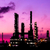 silhouette oil refinery plant and smoke at twilight morning stock photo © tungphoto
