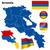 Örményország · vektor · szett · részletes · vidék · forma - stock fotó © tuulijumala