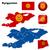 Kirgizisztán · vektor · szett · részletes · vidék · forma - stock fotó © tuulijumala