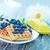 ワッフル · ブルーベリー · プレート · 表 · フルーツ · ミルク - ストックフォト © tycoon