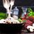 vág · gomba · champignon · kezek · asztal · zöld - stock fotó © tycoon