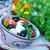 ensalada · caprese · tazón · ingredientes · azul · tomate · mozzarella - foto stock © tycoon