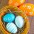 arte · easter · eggs · fiori · di · primavera · legno · blu - foto d'archivio © tycoon