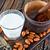 mandula · tej · csésze · asztal · gyümölcs · eszik - stock fotó © tycoon