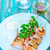 sült · fehér · tányér · asztal · fekete · szín - stock fotó © tycoon