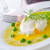 fresh soup from green peas and egg poached stock photo © tycoon