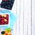çanak · karpuzu · masa · örtüsü · ahududu · kaşık · doku - stok fotoğraf © tycoon