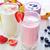sweet · yogourt · verre · table · bois · fruits - photo stock © tycoon
