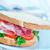 iki · sandviç · kağıt · ambalaj · geri · zemin · domates - stok fotoğraf © tycoon