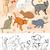 festett · háziállatok · aranyos · farm · állatok · szett · macska - stock fotó © unweit