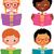 menina · estudar · diferente · desenho · animado · estudante · crianças - foto stock © urchenkojulia