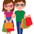 happy couple with shopping bags in hand in full length isolated on white background stock photo © urchenkojulia