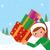 mikulás · örömteli · gyerekek · kicsi · karácsonyfa · szarvas - stock fotó © urchenkojulia