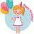 születésnap · lány · rózsaszín · léggömb · kártya · vektor - stock fotó © urchenkojulia