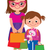mother and daughter holding shopping bags isolated on white background stock photo © urchenkojulia