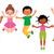 group of happy jumping children isolated on white background stock photo © urchenkojulia