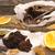 natureza · morta · bolo · de · chocolate · secas · laranja · pergaminho · papel - foto stock © user_11056481