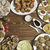 dinner composition over on tabletop with copy space stock photo © user_11056481