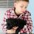 jongen · puppy · mooie · blond · zwarte · venster - stockfoto © vanessavr