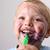 játszik · nevet · kisgyerek · színes · tollak · készít - stock fotó © vanessavr