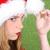 christmas · teen · tiener · rode · lippen · hoed - stockfoto © vanessavr