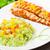 ızgara · somon · pirinç · mutfak · yemek · domates - stok fotoğraf © vankad