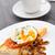 huevo · setas · tomates · placa · pan · desayuno - foto stock © vankad