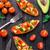 Bruschetta with tomato, avocado and herbs stock photo © vankad