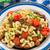 tészta · pörkölt · gombák · koktélparadicsom · tányér · étel - stock fotó © vankad