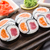 yin yang futomaki with tuna and salmon stock photo © vankad