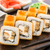 fried sushi roll with eel and japanese omelette stock photo © vankad