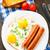 sült · tojások · kolbászok · tányér · narancs · ital - stock fotó © vankad