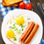 жареный · яйца · пластина · оранжевый · пить - Сток-фото © vankad