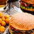 delicious burger with fried potato balls and beer stock photo © vankad