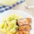 salmón · patatas · verde · chícharos · placa · almuerzo - foto stock © vankad