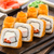 fried sushi roll with shrimp and caviar stock photo © vankad